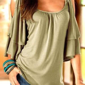 Cold shoulder bell sleeve top size L